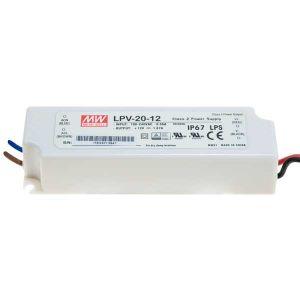 ALIMENTATORE SWITC. IP67 12V 1,67A 20W INPUT 230 Vac, 118x35,5x26mm MW - cod. 41.ASP202012
