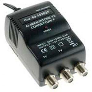 Alimentatore TV SWITCHING 2 USCITE 300mA Connettori F, con ERP e spia LED - cod. 60.10302F