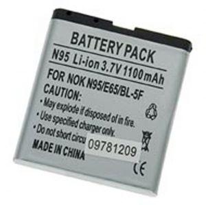 Batteria Litio 1100mAh 5.55mm per Nokia BL-5F, 6290/E65/N93i/N95/6210 NAV - cod. LEN95.BLSS1